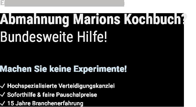 Hilfe bei Marions Kochbuch Abmahnung - Text